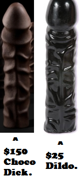 Comparison in Appearances between a Chocolate Penis and a Dildo
