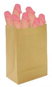 A brown paper grocery bag full of dicks